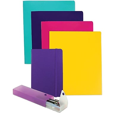JAM Paper® Back To School, Purple Homework Pack, 4 Heavy Duty Folders, 1 Journal, 1 Pencil Case, 6/pack (383HWPRASSRT)