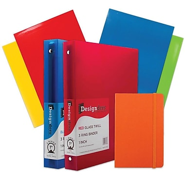 JAM Paper® Back To School Assortments, Classwork Pack, 4 Glossy Folders, 2 1