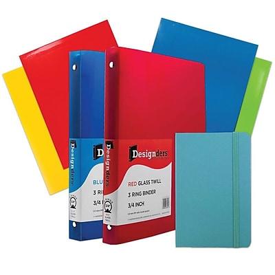 JAM Paper® Back To School Assortments, Classwork Pack, 4 Glossy Folders, 2 0.75