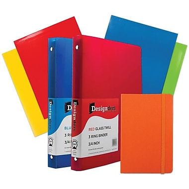 JAM Paper® Back To School, Classwork Pack, 4 Glossy Folders, 2 0.75