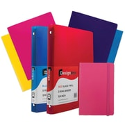 "JAM Paper® Back To School Assortments, Classwork Pack, 4 Glossy Folders, 2 0.75"" Binders, 1 Journal, Pink, 7/pack (385CWPASSRT)"