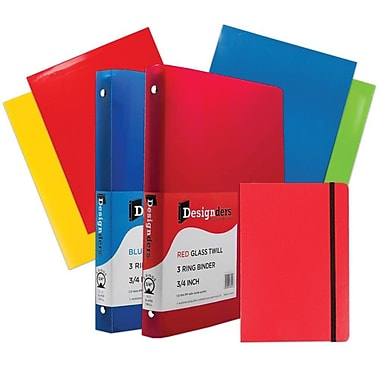 JAM Paper® Back To School Assortments, Classwork Pack, 4 Glossy Folders, 2 0.75
