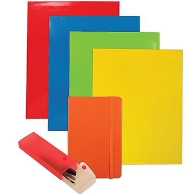 JAM Paper® Back To School Assortments, Orange Homework Pack, 4 Glossy Folders, 1 Journal, 1 Pencil Case, 6/Pack (385HWOASSRT)