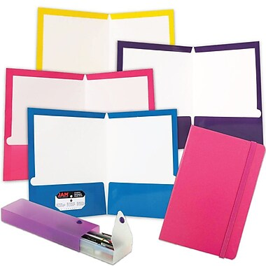 JAM Paper® Back To School Assortments, Pink Homework Pack, 4 Glossy Folders, 1 Journal, and 1 Pencil Case, 6/Pack (385HWPASSRT)