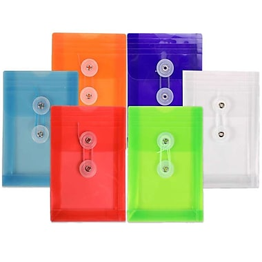 JAM Paper® Plastic Envelopes, Button and String Tie Closure, Open End, 4.25 x 6.25, Assorted Colours, 18/Pack (473B1assrtdg)