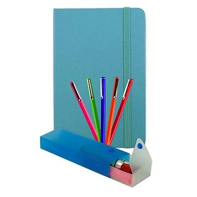 JAM Paper Artist Writer Pack, 5-Fine Point Pen Markers, 1-Pen Case, 1-Journal, Caribbean Blue, 7 Items (7655CBASSRT) 1912639