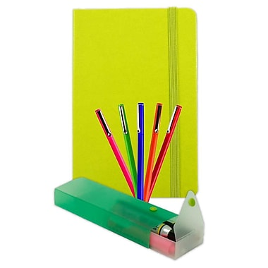 JAM Paper® Artist Writer Pack, 5-Fine Point Pen Markers, 1-Pen Case, 1-Journal, Lime Green, 7 Items (7655GASSRT)