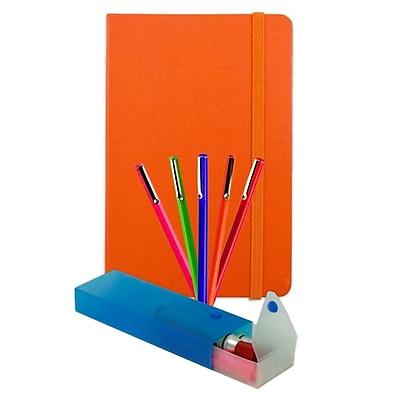 JAM Paper® Artist Writer Pack, 5-Fine Point Pen Markers, 1-Pen Case, 1-Journal, Orange, 7 Items (7655OASSRT)