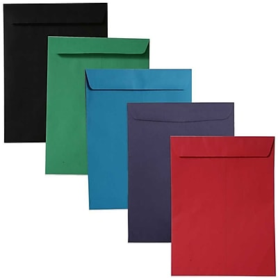 JAM Paper® 10 x 13 Open End Catalog Envelopes, Assorted Bright Colors, 50/pack (8035ASSRTD)