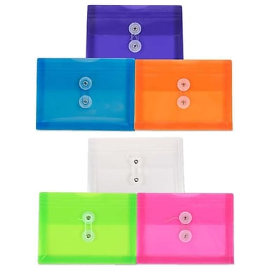 JAM Paper® Plastic Envelopes, Button String Tie Closure, Index Booklet, 5.25 x 7.5, Assorted Colours, 18/Pack (920B1assrtdg)