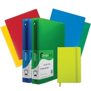 "JAM Paper® Back To School Assortments, Green Classwork Pack, 4 Heavy Duty Folders, 2 1.5"" Binders, 1 Journal, 7/pk (CW15GASSRT)"