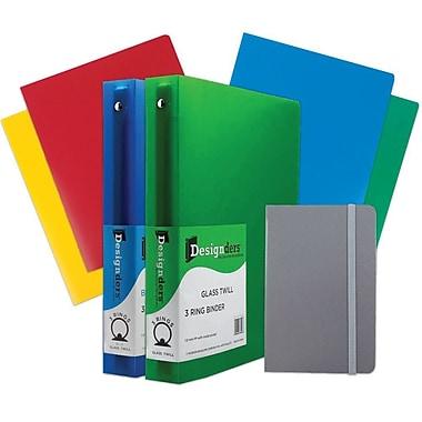 JAM Paper® Back To School, Grey Classwork Pack, 4 Heavy Duty Folders, 2 1.5