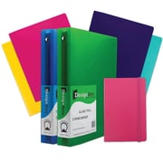 "JAM Paper® Back To School Assortments, Pink Classwork Pack, 4 Heavy Duty Folders, 2 1.5"" Binders, 1 Journal, 7/pack (CW15PASSRT)"