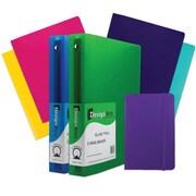 """JAM Paper® Back To School Assortments, Purple Classwork Pack, 4 Heavy Duty Folders, 2 1.5"""" Binders, 1 Journal,7/pk (CW15PRASSRT)"""