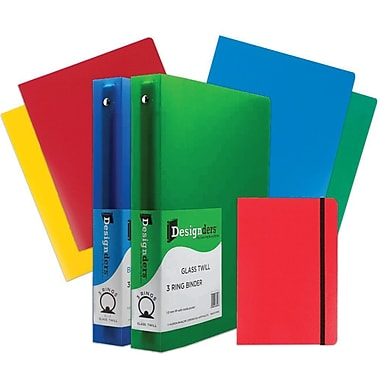 JAM Paper® Back To School Assortments, Red Classwork Pack, 4 Heavy Duty Folders, 2 1.5