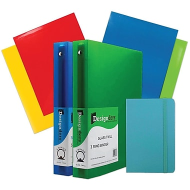 JAM Paper® Back To School Assortments, Classwork Pack, 4 Glossy Folders, 2 1.5