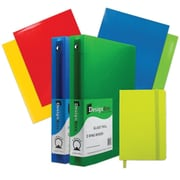 "JAM Paper® Back To School Assortments, Classwork Pack, 4 Glossy Folders, 2 1.5"" Binders, 1 Journal, Green, 7/pack (CWG15GASSRT)"