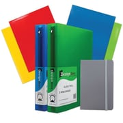 "JAM Paper® Back To School Assortments, Classwork Pack, 4 Glossy Folders, 2 1.5"" Binders, 1 Journal, Grey, 7/pack (CWG15GRASSRT)"