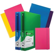 "JAM Paper® Back To School Assortments, Classwork Pack, 4 Glossy Folders, 2 1.5"" Binders, 1 Journal, Pink, 7/pack (CWG15PASSRT)"