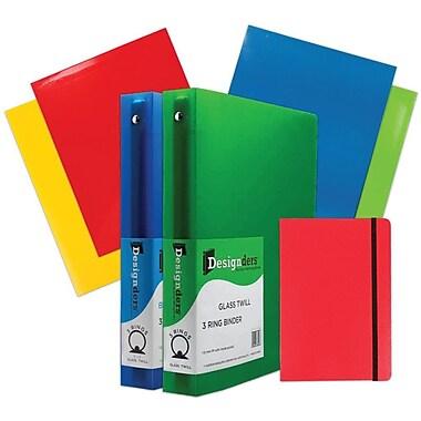 JAM Paper® Back To School Assortments, Red Classwork Pack, 4 Glossy Folders, 2 1.5 Inch Binders, 1 Journal, 7/Pack (CWG15RASSRT)