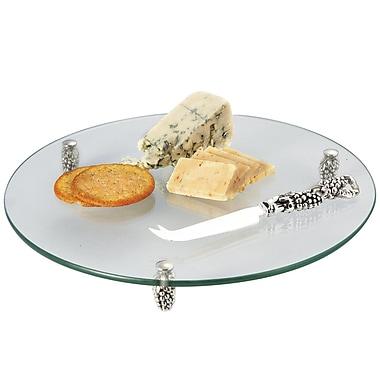 Elegance – Plateau à fromage en verre avec serveur à raisins argenté