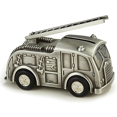 Elegance Pewter Finish Fire Truck Bank