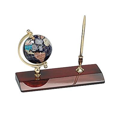 Porte-stylo élégant de 3 po avec globe en pierres fines série Desk-Top et stylo