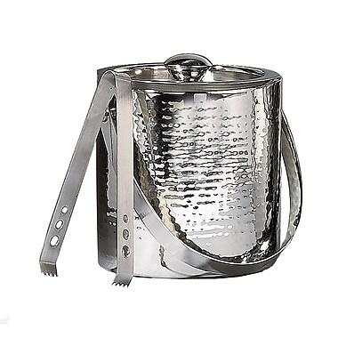 Elegance – Seau à glace de 6 po en acier inoxydable martelé avec pinces