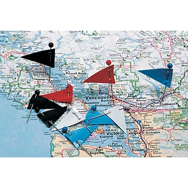 Acme Map Flag Pins, Assorted Colours, 250 Flags/Box, 10 Boxes/Pack