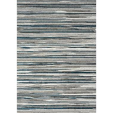 Kalora Boulevard Stripes Glitz Low Pile Gray Shag Area Rug; 7'10'' x 10'10''