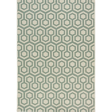 Kalora Coast Honeycomb Flatweave Cream/Green Indoor/Outdoor Area Rug; 7'10'' x 10'10''