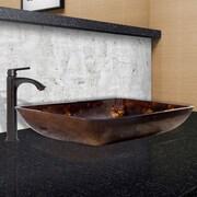 Vigo Fusion Glass Rectangular Vessel Bathroom Sink