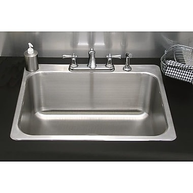 A-Line by Advance Tabco 22.25'' x 20.25'' Single Drop-In Utility Sink; 3 Holes