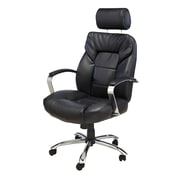 Comfort Products Commodore II Big & Tall Leather Executive Office Chair, Fixed Arms, Black (60-5800T)