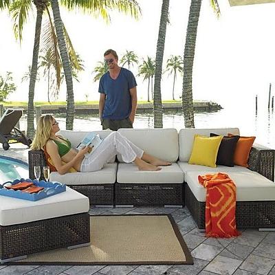 Hospitality Rattan Soho 5 Piece Sunbrella Sectional Set w/ Cushions; Dimone Sequoia