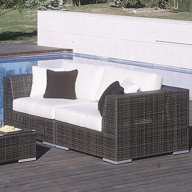 Hospitality Rattan Soho 2 Piece Deep Seating Group w/ Sunbrella Cushions; Canvas Canvas