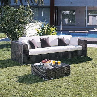 Hospitality Rattan Soho 3 Piece Deep Seating Group w/ Sunbrella Cushions; Spectrum Graphite