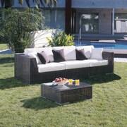 Hospitality Rattan Soho 3 Piece Deep Seating Group w/ Sunbrella Cushions; Canvas Canvas