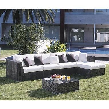 Hospitality Rattan Soho 6 Piece Deep Seating Group w/ Cushions; Canvas Canvas