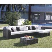 Hospitality Rattan Soho 6 Piece Deep Seating Group w/ Sunbrella Cushions; Glacier