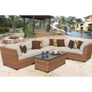 TK Classics Laguna 7 Piece Sectional Seating Group w/ Cushion; Beige
