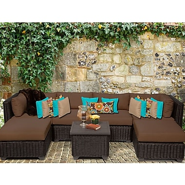 TK Classics Venice 7 Piece Sectional Seating Group w/ Cushion; Cocoa