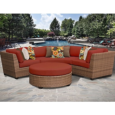 TK Classics Laguna 4 Piece Sectional Seating Group w/ Cushion; Terracotta