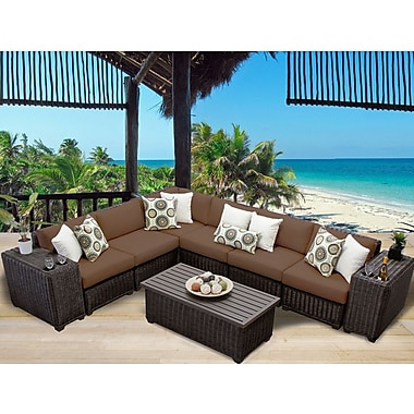 TK Classics Venice 9 Piece Sectional Set w/ Cushions; Cocoa