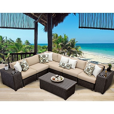 TK Classics Venice 9 Piece Sectional Seating Group w/ Cushion; Wheat