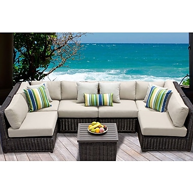 TK Classics Venice 7 Piece Sectional Seating Group w/ Cushion; Beige