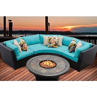 TK Classics Barbados 4 Piece Fire Pit Seating Group w/ Cushion; Aruba
