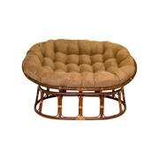 International Caravan Rattan Double Papasan Chair w/ Micro Suede Cushion; Black