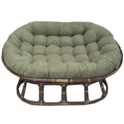 International Caravan Rattan Double Papasan Chair w/ Micro Suede Cushion; Hunter Green