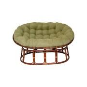 International Caravan Rattan Double Papasan Chair w/ Micro Suede Cushion; Sage